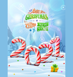 new year 2021 in shape candy stick in snow vector image