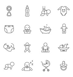 newborn babies signs black thin line icon set vector image
