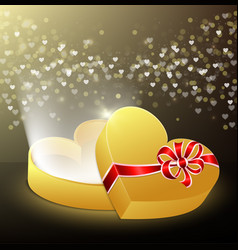 Opened gift box in shape a heart vector