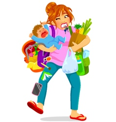 overloaded mom vector image