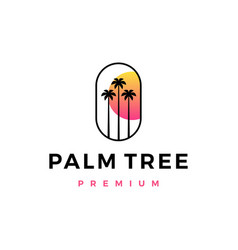 Palm tree sunset logo icon vector