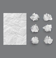 paper texture crumpled balls and realistic vector image