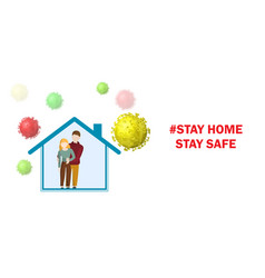 people inside house and viruses around vector image
