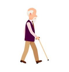 Person with cane thin stick curved handle isolated vector