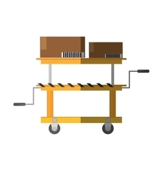 Platform trolley lifting boxes cargo shadow vector