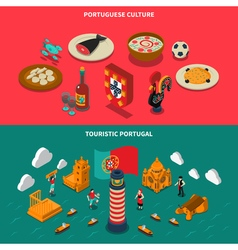 Portugal Isometric Banners Set vector image