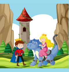 prince and princess castle scene vector image