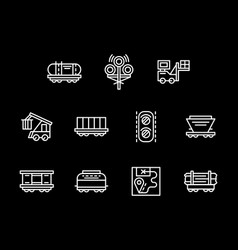 Railroad objects white line icons set vector