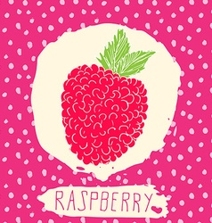 Raspberry hand drawn sketched fruit with leaf on vector image