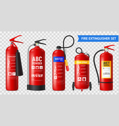 Realistic fire extinguishers set vector