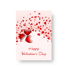Rectangular cover with scarlet hearts vector
