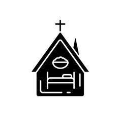Religious shelter black glyph icon vector