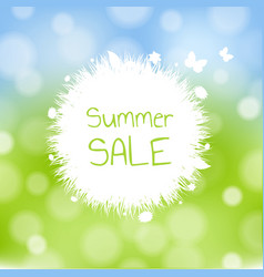 sale banner with grass and flowers vector image
