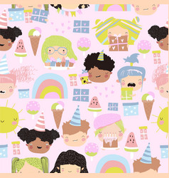 seamless pattern cute kids faces with birthday vector image