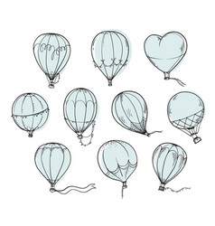 set hot air balloons line vector image