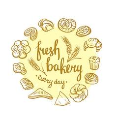 Set of bakery icons Bread cookies cake pie Bakery vector