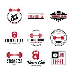 set of fitness emblems signs labels badges vector image