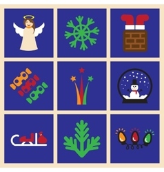 Set of flat icons on blue background Christmas vector