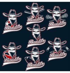 Set of skull bandit sports labels vector