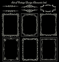 Set of vintage borders and elements vector image