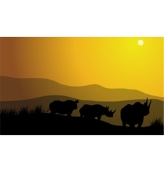 silhouette of rhinoceros africa Hill vector image
