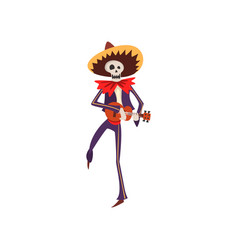 skeleton in mexican national costume dancing with vector image