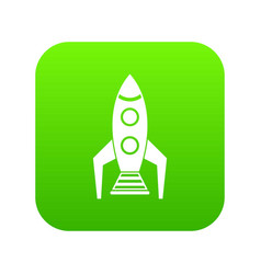 space rocket icon digital green vector image