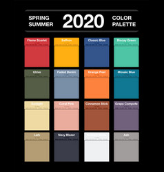 Spring and summer 2020 colors palette on black vector