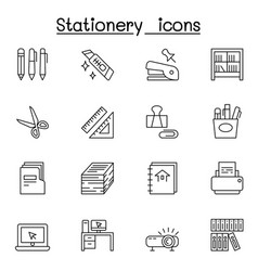 Stationery icon set in thin line style vector