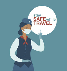 stay safe while travel stewardess character vector image
