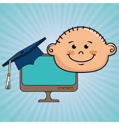 Student boy laptop idea graduation vector