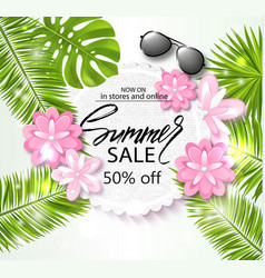 Summer sale banner poster with palm leaves vector