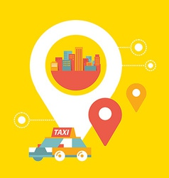 taxi service and navigation in city vector image