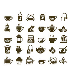 tea icons hot and cold drinks symbols cup vector image