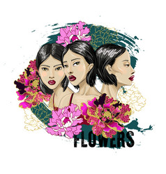 three fashion japanese girl with flowers vector image