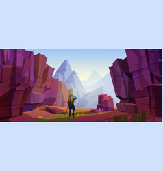 traveler at mountains journey or adventure trip vector image