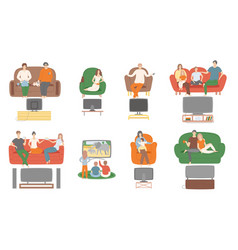 tv television watching people sitting on couch vector image