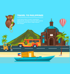 urban landscape with landmarks of philippines vector image