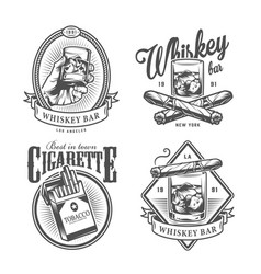 Vintage monochrome gentleman club labels vector