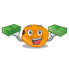 With money bag eat corn nuts in cartoon shape vector