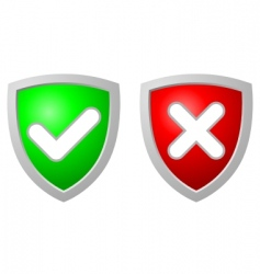accept and deny security shiel vector image vector image