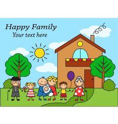 Cartoon big happy family near the house vector image