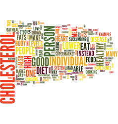 Food that lower cholesterol text background word vector