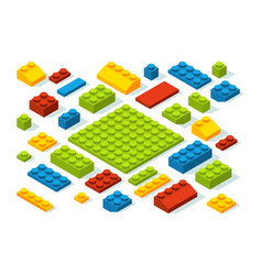 isometric constructor blocks at different colors vector image vector image