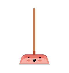 kawaii dustpan with wooden stick in colorful vector image vector image