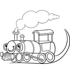 Cartoon locomotive or engine coloring page vector