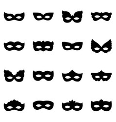set of carnival mask silhouettes vector image vector image