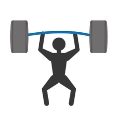 silhuette man weight lifting barbell vector image