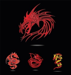 Abstract and tradition religion red dragons vector