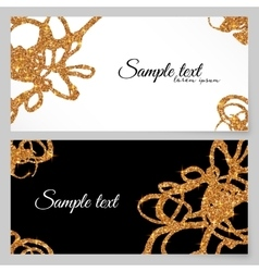 Golden glitter paint doodles greeting card vector image